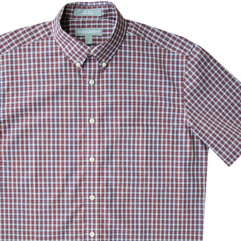 画像1: エバグリーン 半袖 シャツ(バーガンディー・ブルー)/Evergreen Plaid Shortsleeve Shirt (1)