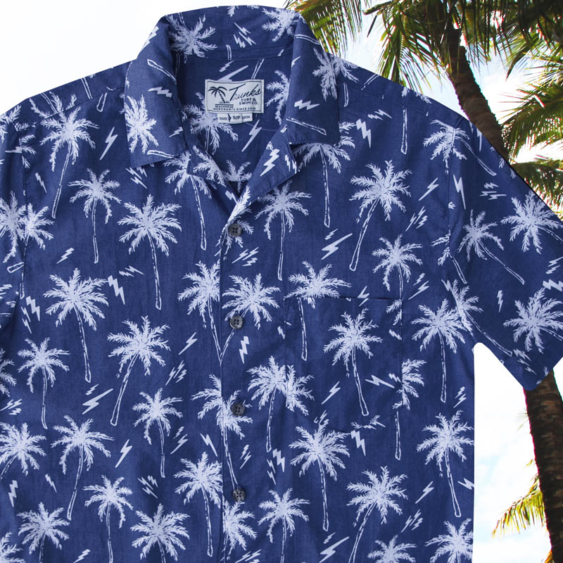 画像1: パームツリー アロハシャツ(ブルー・ホワイト)/Short Sleeve Hawaiian Shirt(Blue) (1)
