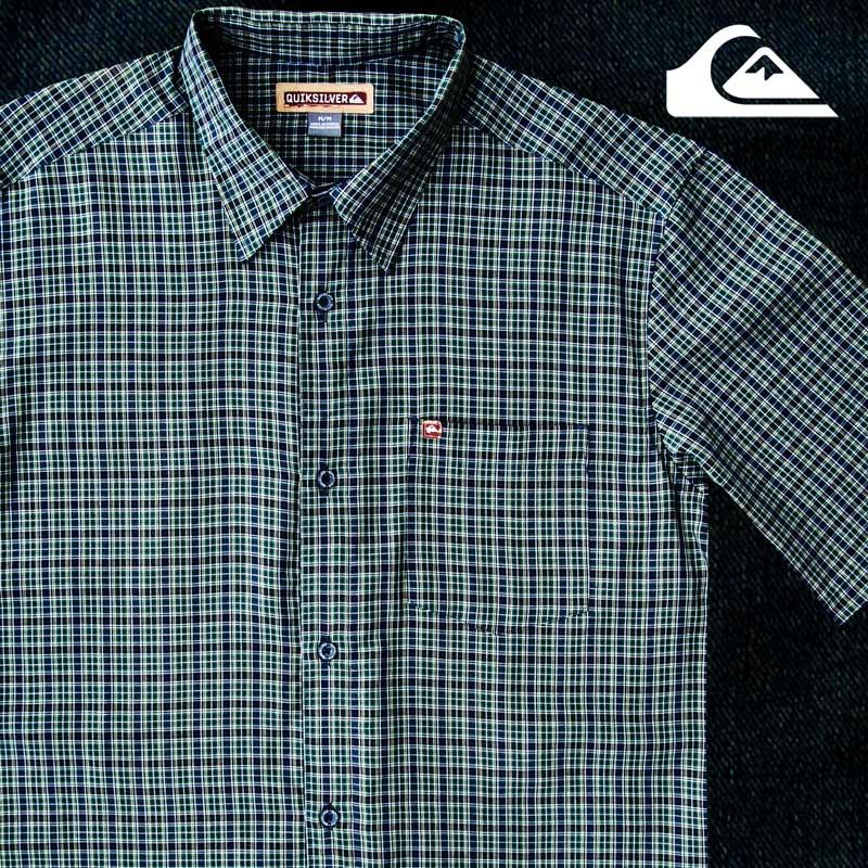 画像1: クイックシルバー 半袖 シャツ(グリーン・ブルー)/Quiksilver Tencel Plaid Shortsleeve Shirt(Green/Blue) (1)