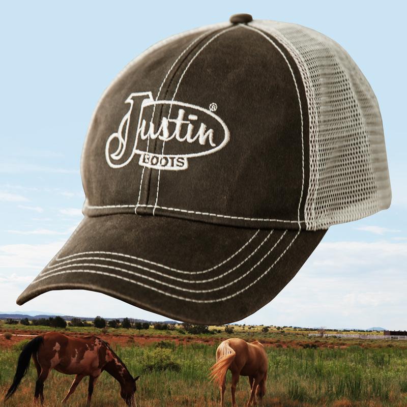 画像1: ジャスティン ブーツ メッシュ キャップ(ブラウン)/Justin Boots Mesh Cap(Brown) (1)