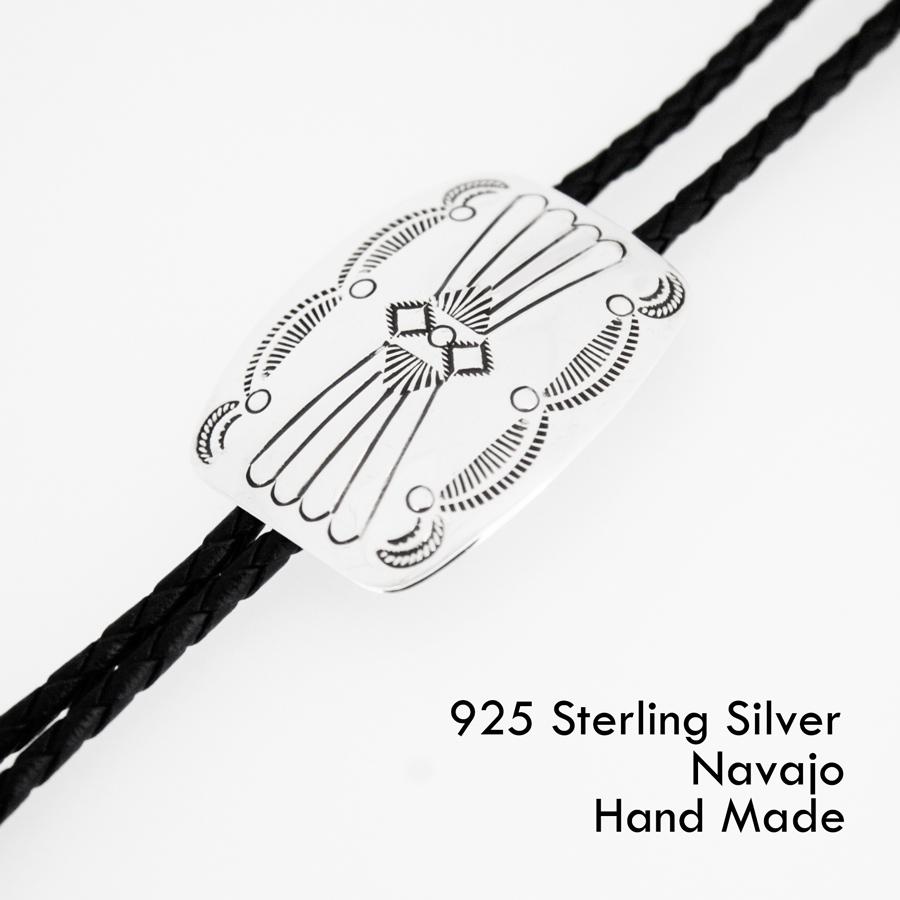画像1: ネイティブアメリカン ナバホ族 シルバー ハンドメイド ボロタイ/Navajo Sterling Silver Bolo Tie (1)