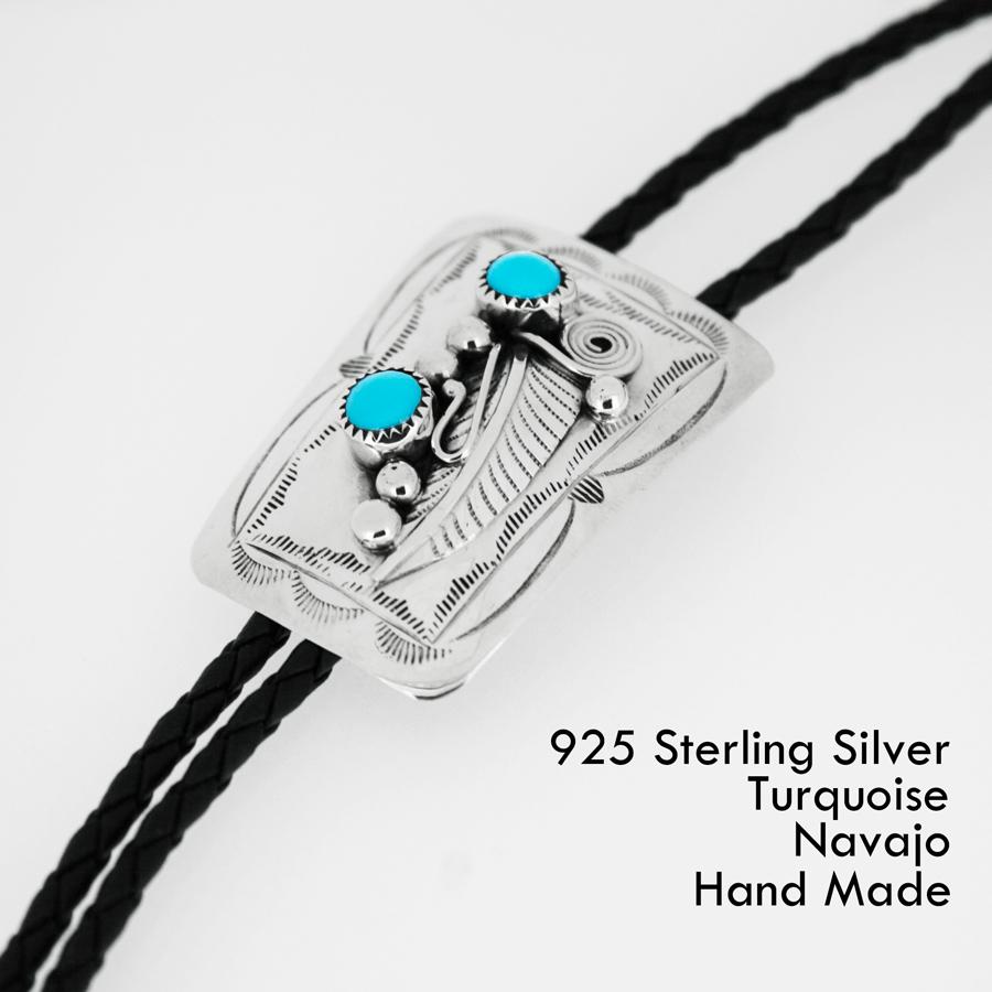 画像1: シルバー&ターコイズ ボロタイ ネイティブアメリカン ナバホ族 ハンドメイド/Navajo Sterling Silver&Turquoise Bolo Tie (1)