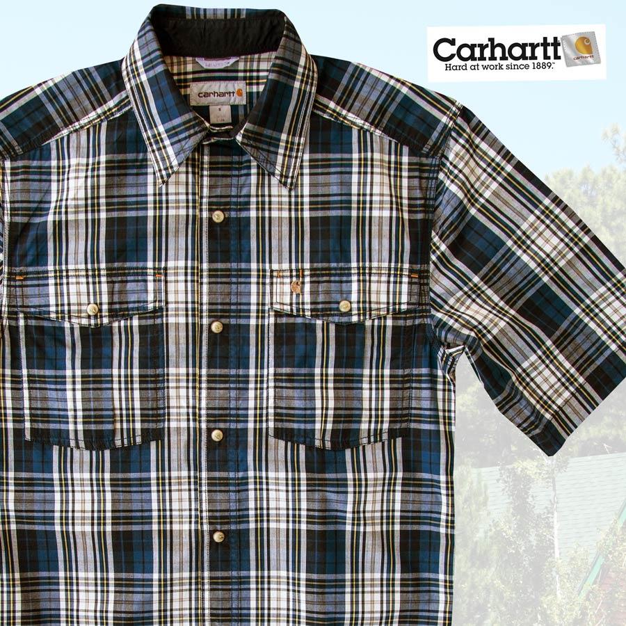 画像1: カーハート 半袖 スナップフロント シャツ(ブルー)S/Carhartt Short Sleeve Shirt (1)