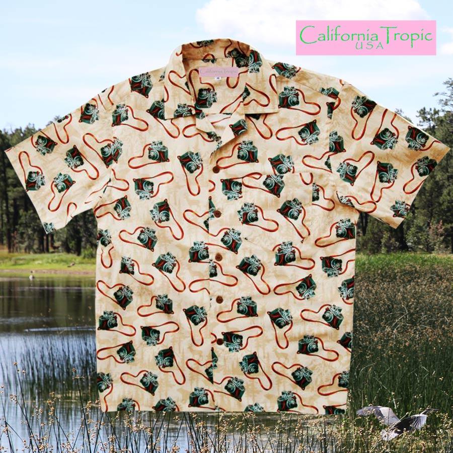 画像1: カリフォルニア トロピック USA キャンプシャツ(カメラファン)/California Tropic Camp Shirt (1)