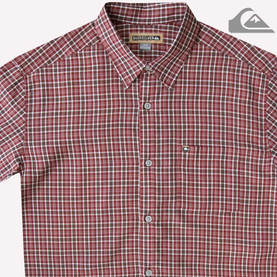 画像1: クイックシルバー 半袖 シャツ(バーガンディー・グリーン)M/Quiksilver Tencel Plaid Shortsleeve Shirt(Burgundy/Green) (1)