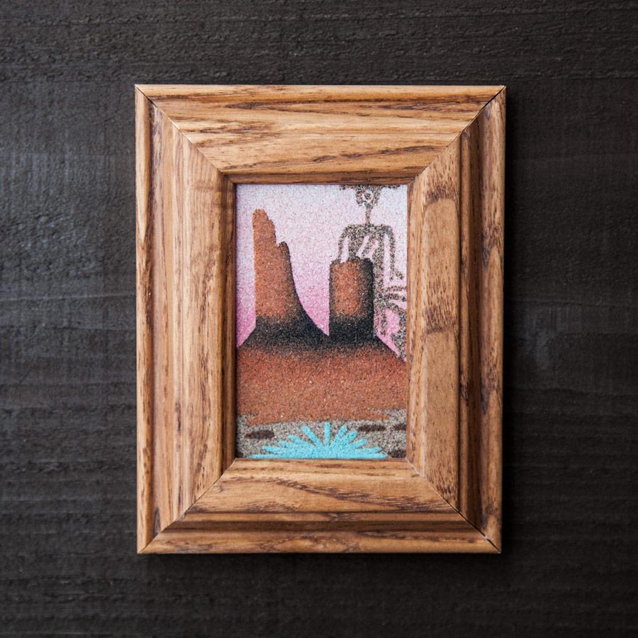 画像1: アメリカインディアン ナバホ族 サンドペイント・砂絵(フレームつき)/Americn Indian Navajo Sandpainting (1)