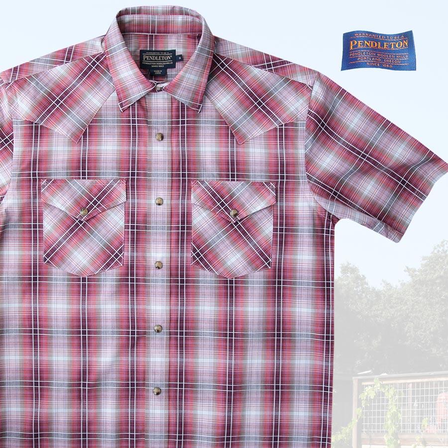 画像1: ペンドルトン 半袖 ウエスタン シャツ レッドプラッドS/Pendleton Short Sleeve Western Shirt (1)