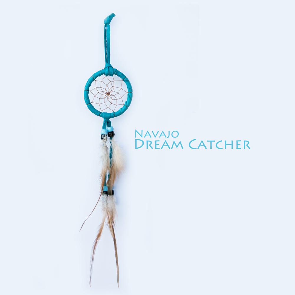 画像1: アメリカインディアン ナバホ族 鹿革製 ハンドメイド ドリームキャッチャー 6cm(ターコイズ/ライトブルー・ブラック)/Navajo Hand Made Dream Catcher (1)