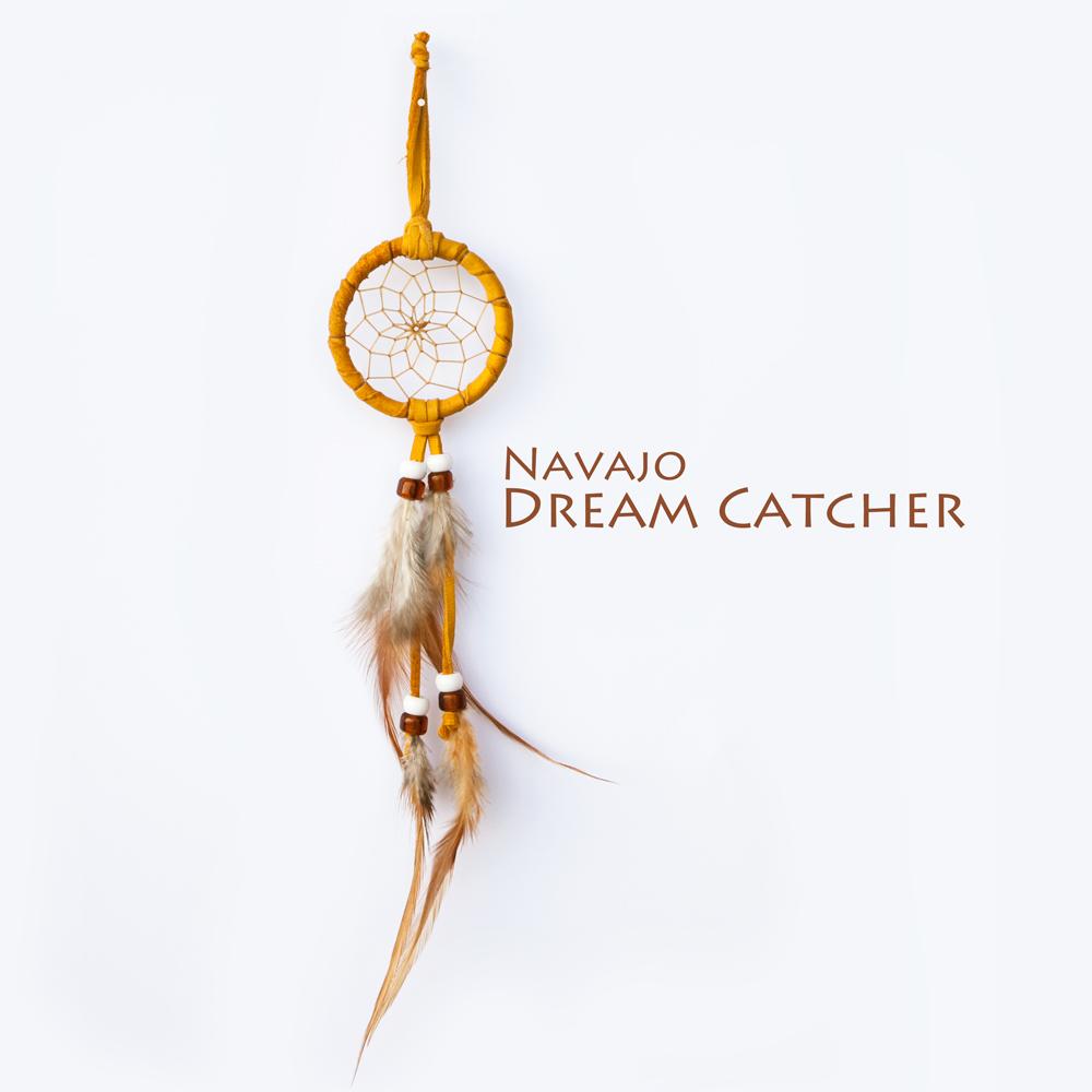 画像1: アメリカインディアン ナバホ族 鹿革製 ハンドメイド ドリームキャッチャー 6cm(タン/ホワイト・アンバー)/Navajo Hand Made Dream Catcher (1)