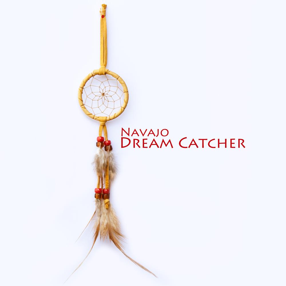 画像1: アメリカインディアン ナバホ族 鹿革製 ハンドメイド ドリームキャッチャー 6cm(タン/コーラル・アンバー)/Navajo Hand Made Dream Catcher (1)