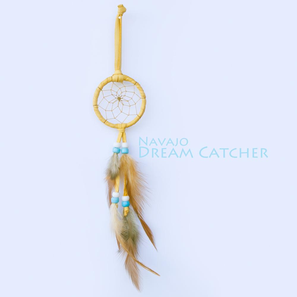 画像1: アメリカインディアン ナバホ族 鹿革製 ハンドメイド ドリームキャッチャー 6cm(タン/ホワイト・ライトブルー)/Navajo Hand Made Dream Catcher (1)