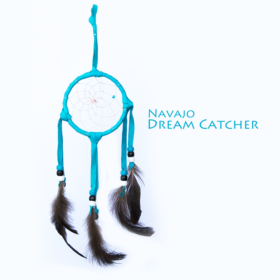 画像1: アメリカインディアン ナバホ族 鹿革製 ハンドメイド ドリームキャッチャー 7.7cm(ターコイズ/ターコイズ・ブラックホワイト)/Navajo Hand Made Dream Catcher (1)