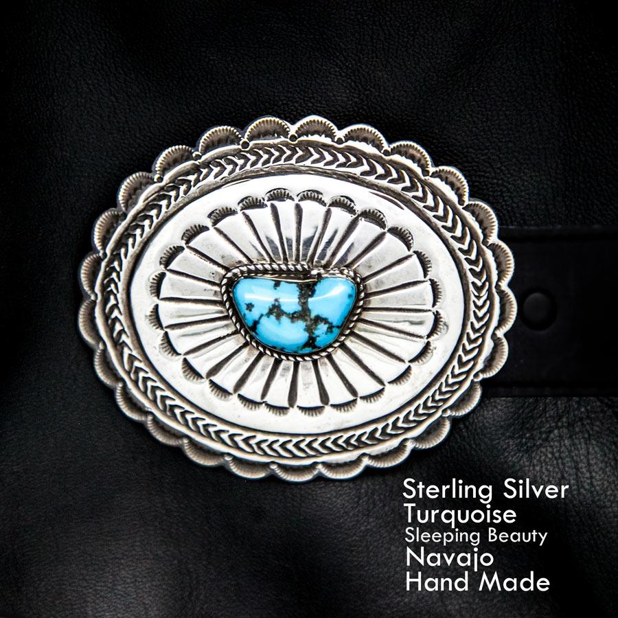 画像1: ナバホ シルバー& スリーピングビューティーターコイズ ハンドメイド ベルト バックル/Navajo Handmade Belt Buckle (1)