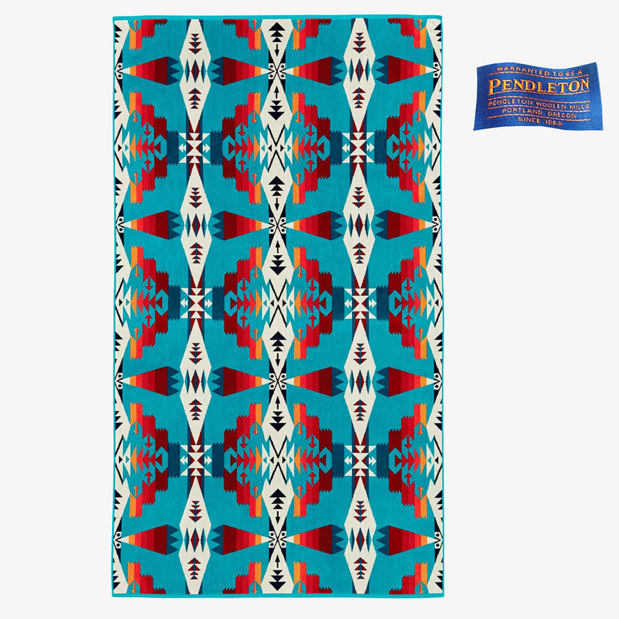 画像1: PENDLETON ペンドルトン ジャガードバスタオル/Pendleton Tucson Spa Towel(Turquoise) (1)