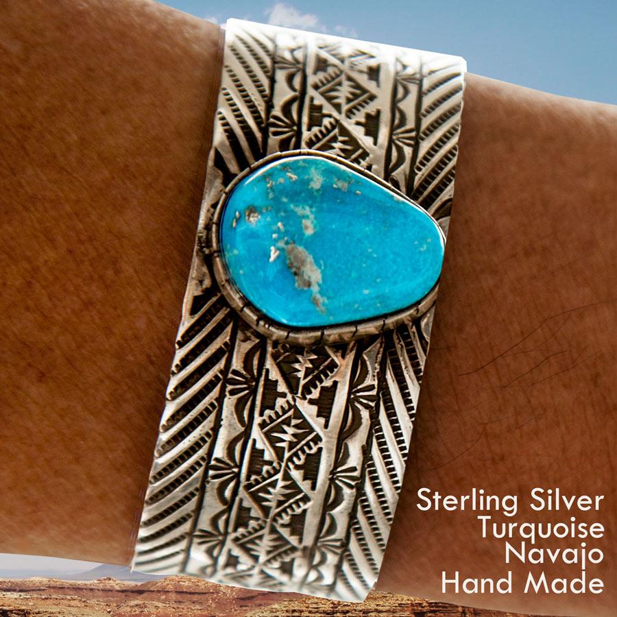 画像1: ナバホ キングマン ターコイズ スターリングシルバー ハンドメイド ブレスレット/Navajo Kingman Turquoise Sterling Silver Bracelet (1)