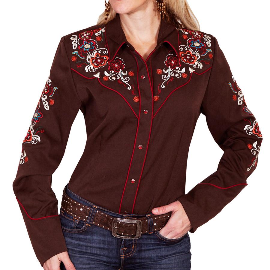 画像1: スカリー フローラル刺繍 ウエスタン シャツ(長袖/チョコレート)M/Scully Long Sleeve Western Shirt(Women's) (1)
