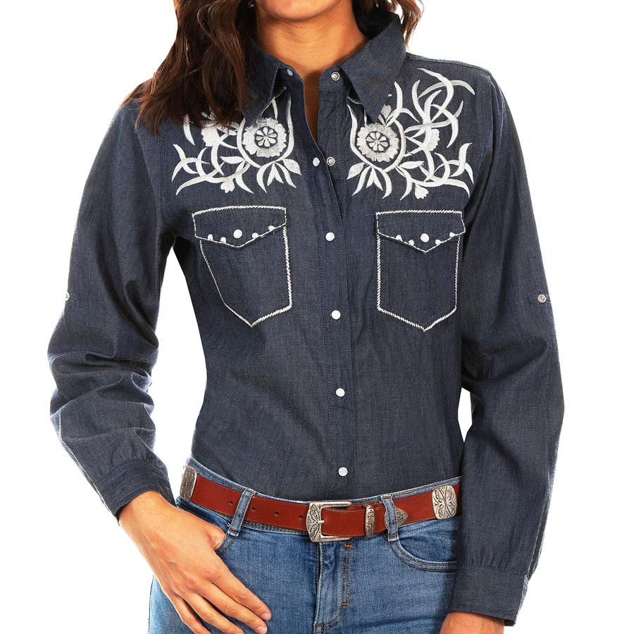 画像1: スカリー ホワイト刺繍 ウエスタン シャツ(長袖/デニム)S/Scully Long Sleeve Western Shirt(Women's) (1)