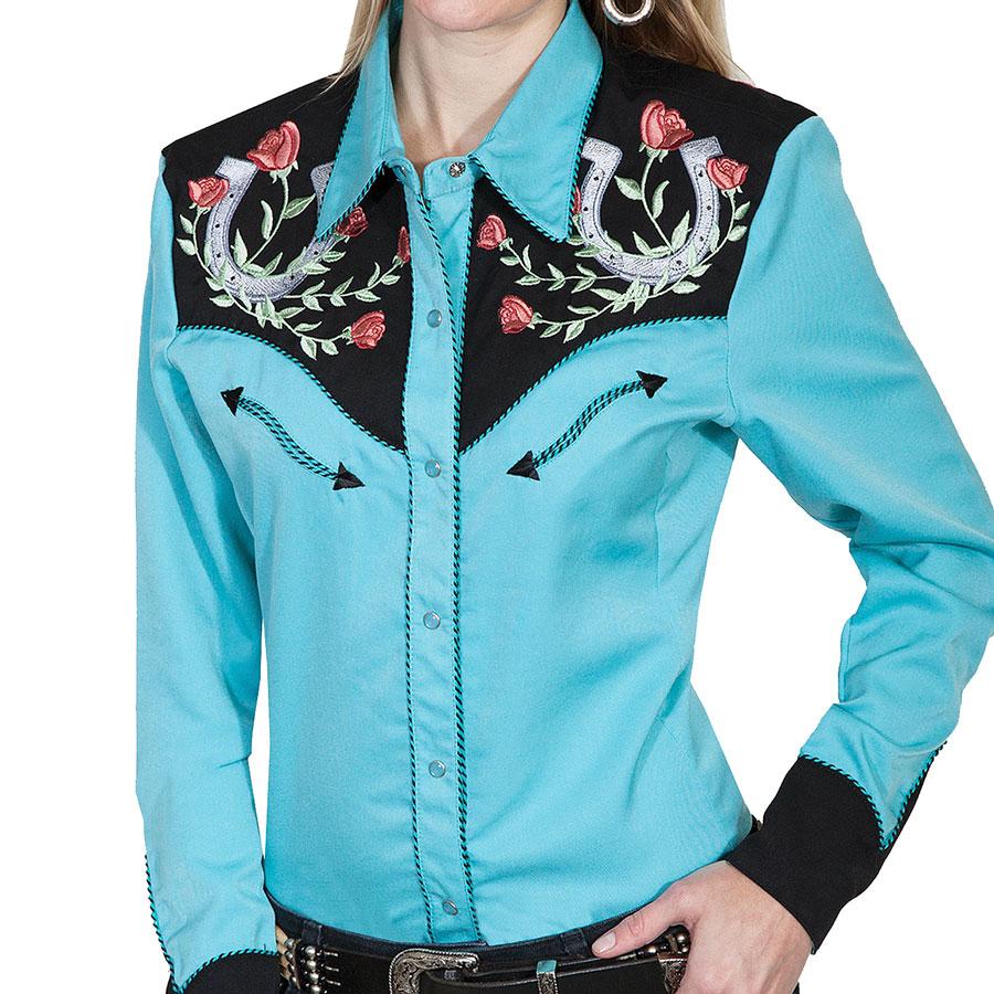 画像1: スカリー 薔薇と蹄鉄刺繍 ウエスタン シャツ(長袖/ターコイズ)/Scully Long Sleeve Western Shirt(Women's) (1)