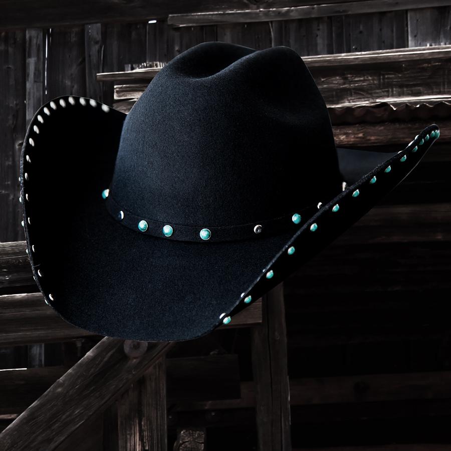 画像1: ターコイズ&シルバー スタッズ ウール カウボーイハット(ブラック)/Wool Felt Cowboy Hat(Black) (1)