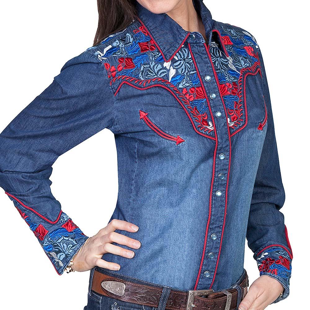画像1: スカリー 刺繍 ウエスタン シャツ(長袖/デニム・フローラルマルチカラー)/Scully Long Sleeve Western Shirt(Women's) (1)