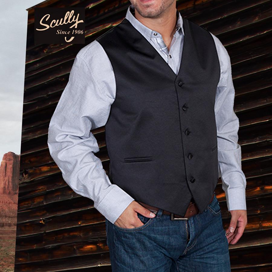画像1: スカリー オールドウエスト ベスト(ソリッドブラック)/Scully Old West Vest (Solid Black) (1)