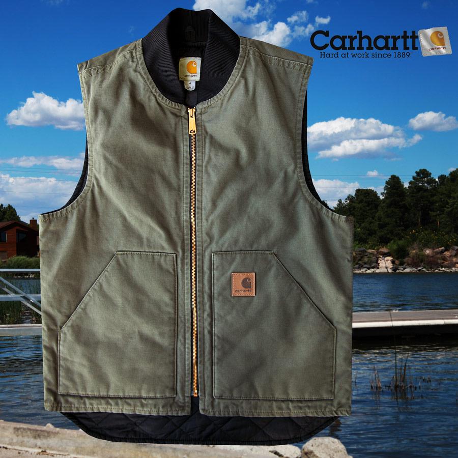 画像1: カーハート キルトラインド 12オンスコットン ウォッシュドダック ベスト(モスグリーン)/Carhartt Quilt-Lined Washed Duck Vest(Moss) (1)
