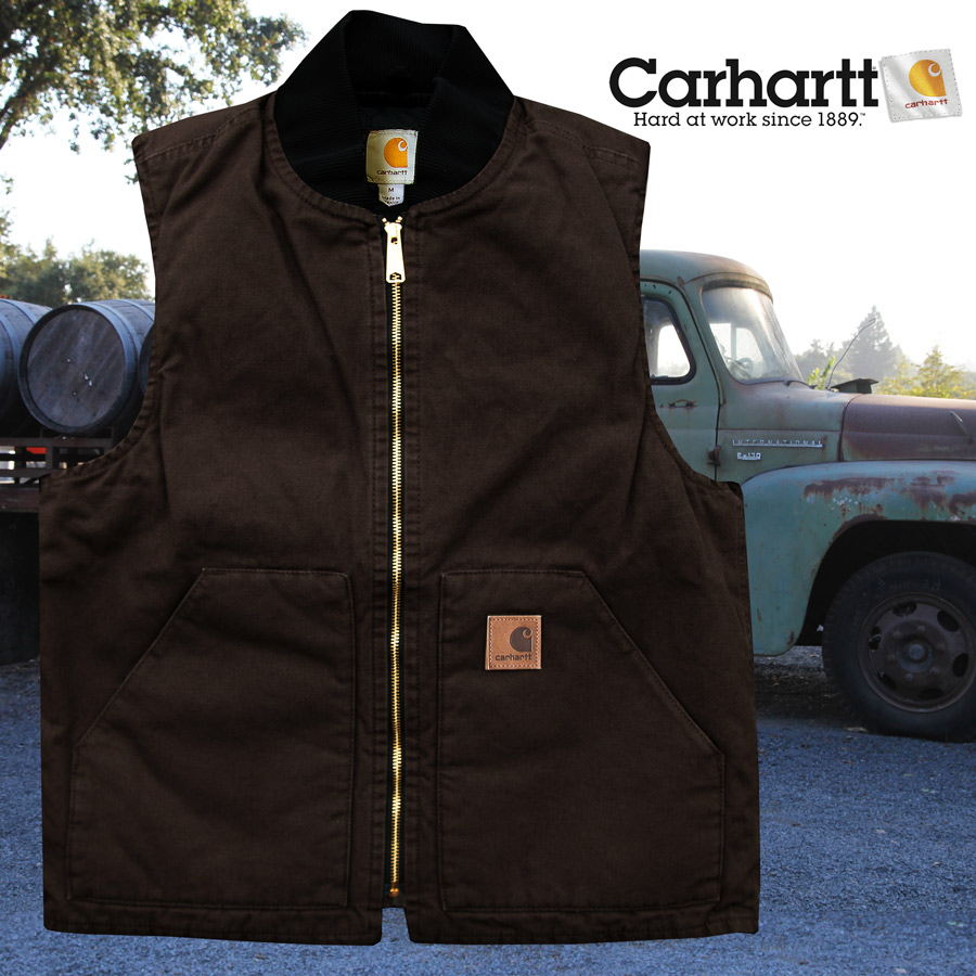 画像1: カーハート キルトラインド 12オンスコットン ウォッシュドダック ベスト(ダークブラウン)/Carhartt Quilt-Lined Washed Duck Vest(Dark Brown) (1)