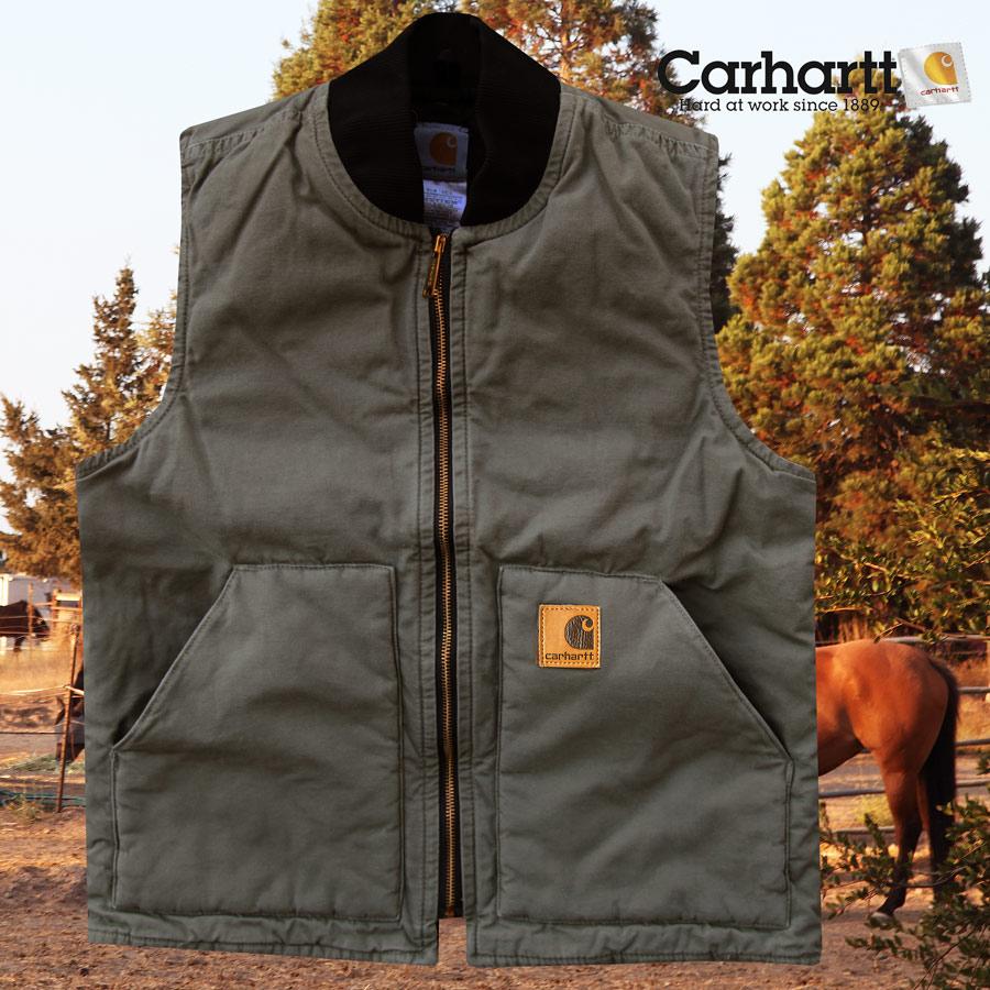 画像1: カーハート ベスト(12オンス100%コットンダック・アーミーグリーン)M/Carhartt Vest (1)