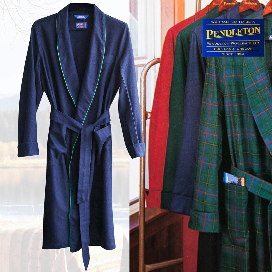 画像1: ペンドルトン ピュアーバージン ウール ローブ・ガウン(ネイビー)S/Pendleton Washable Whisper Wool Robe(Navy) (1)