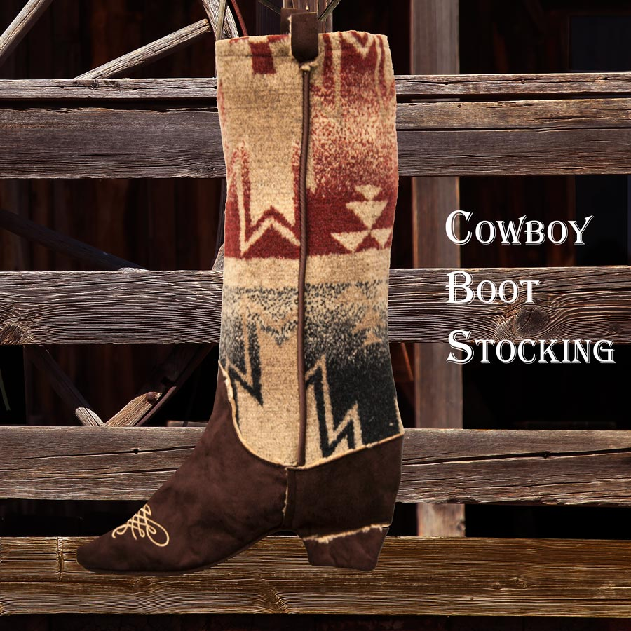 画像1: カウボーイ ブーツ ストッキング(インテリア)/Cowboy Boot Stocking (1)
