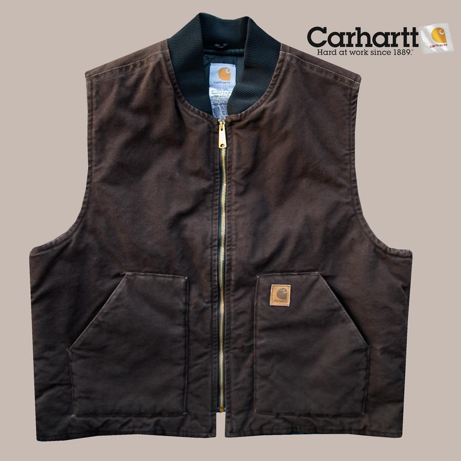 画像1: カーハート サンドストーンダック ベスト(ダークブラウン)ラージサイズXL/Carhartt Vest(V02 Dark Brown) (1)
