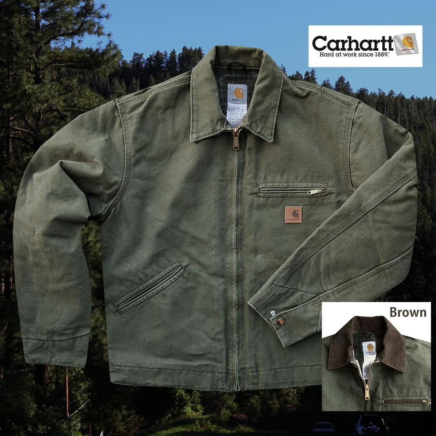 画像1: カーハート デトロイト ジャケット J97(アーミーグリーン/ブラウン襟)L/Carhartt Detroit Jacket(Army Green) (1)
