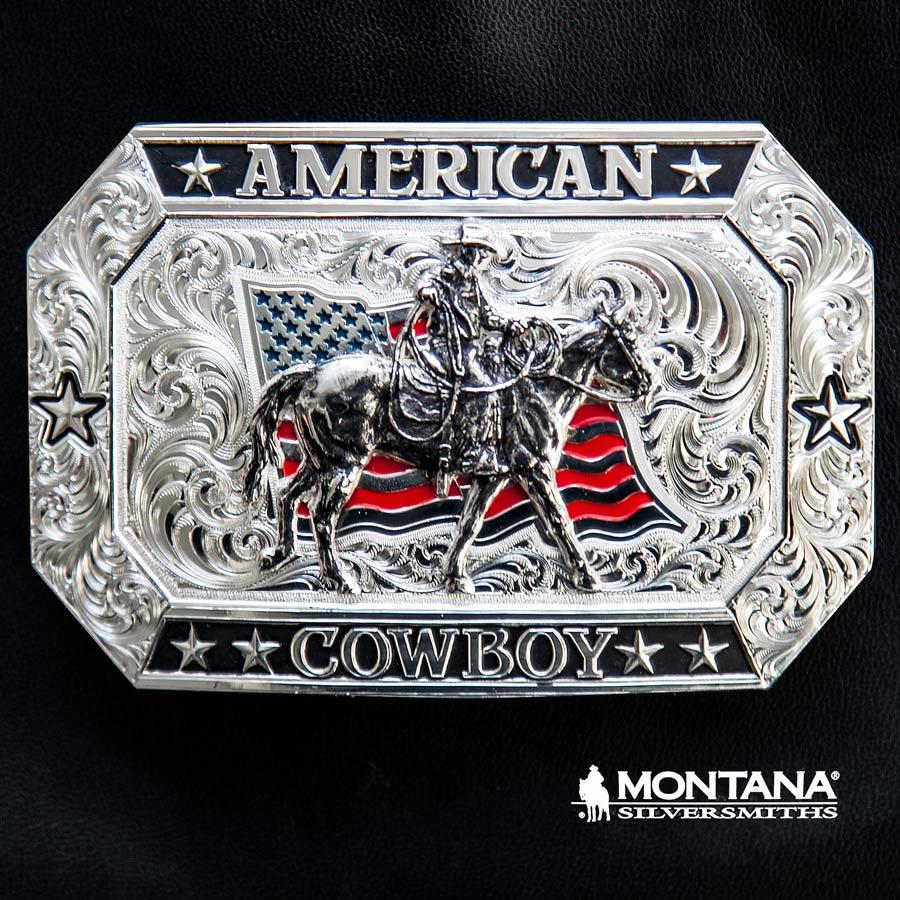 画像1: モンタナシルバースミス アメリカン カウボーイ フラッグ・ホースライディング ベルト バックル/Montana Silversmiths American Cowboy Flag Belt Buckle (1)