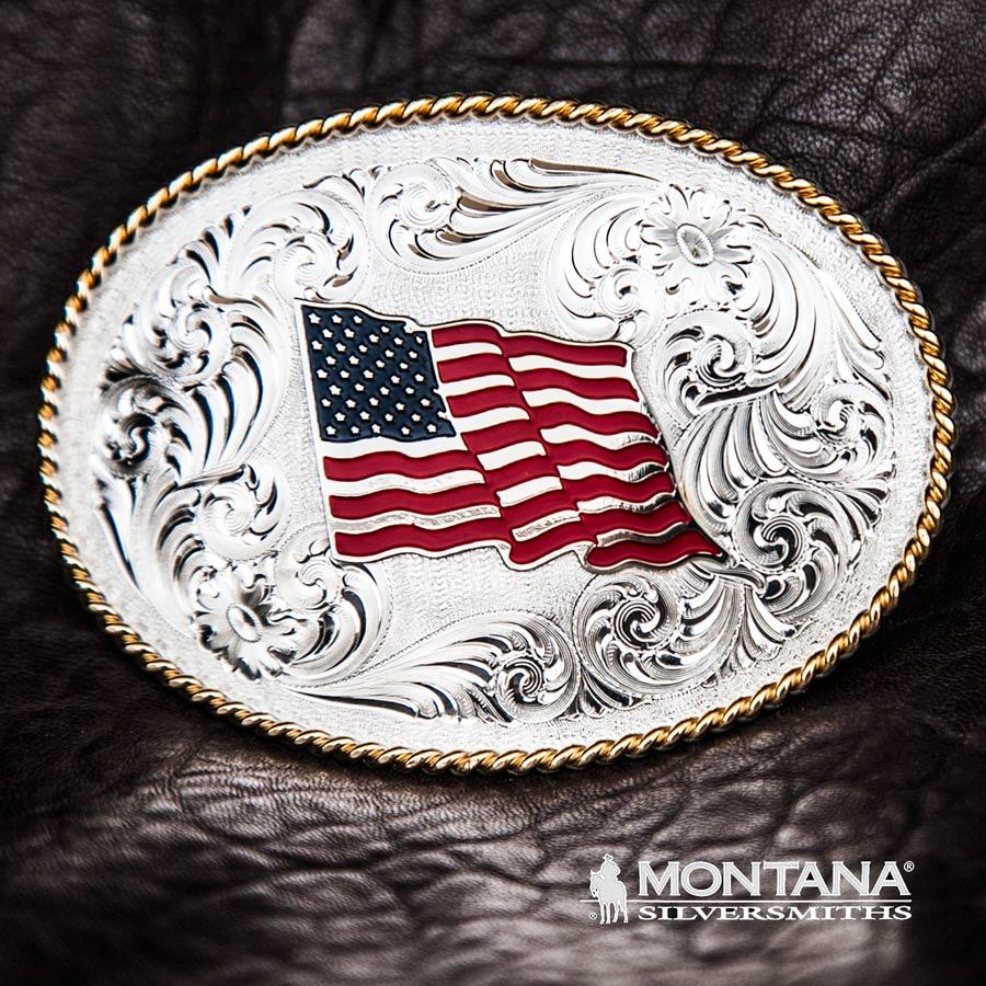 画像1: モンタナシルバースミス ベルト バックル U.Sフラッグ/Montana Silversmiths Belt Buckle (1)