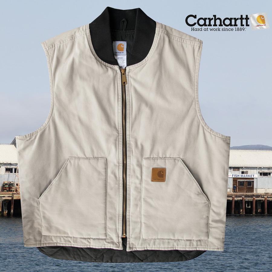 画像1: カーハート ベスト(12オンス100%コットンダック・タン)/Carhartt Vest (1)