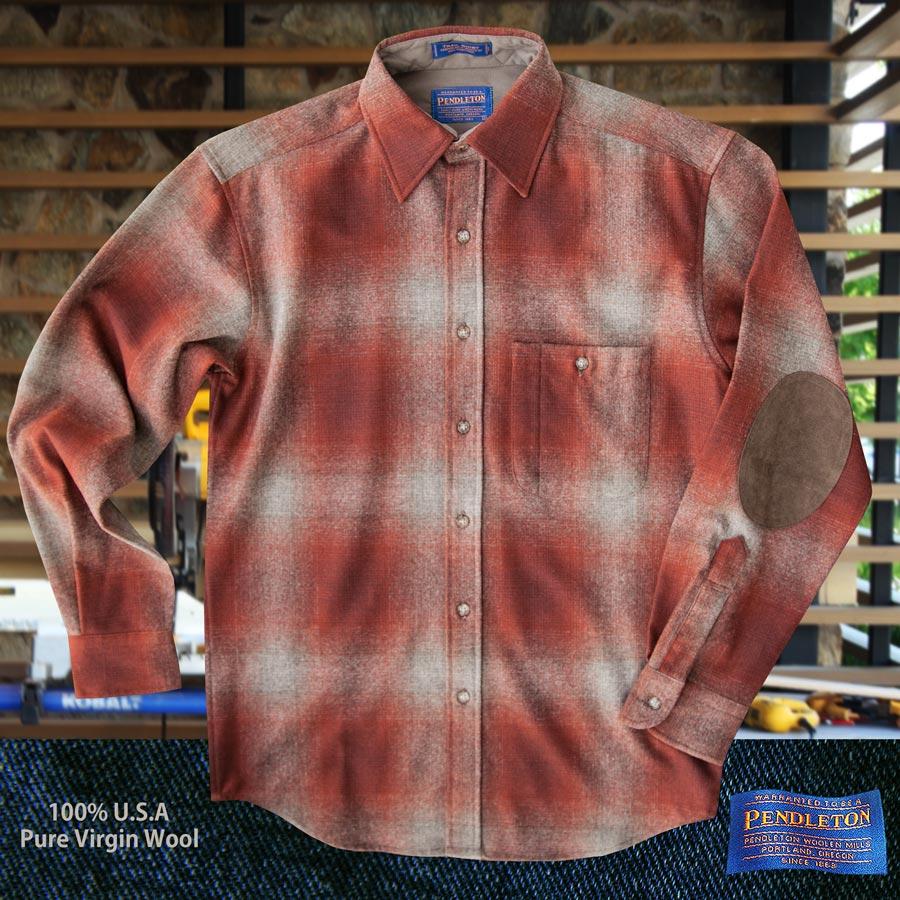 画像1: ペンドルトン ウール シャツ・エルボーパッチ トレイルシャツ ブリック・ブラウンオンブレS/Pendleton Elbow-Patch Trail Shirt (1)