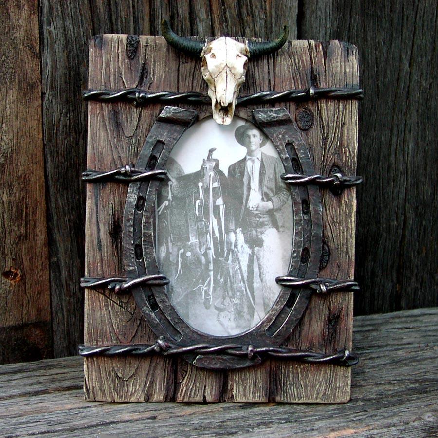 画像1: ウエスタン・ホースシュー&スカルフォトフレーム(写真立て)/Horseshoe Skull Photo Frame (1)
