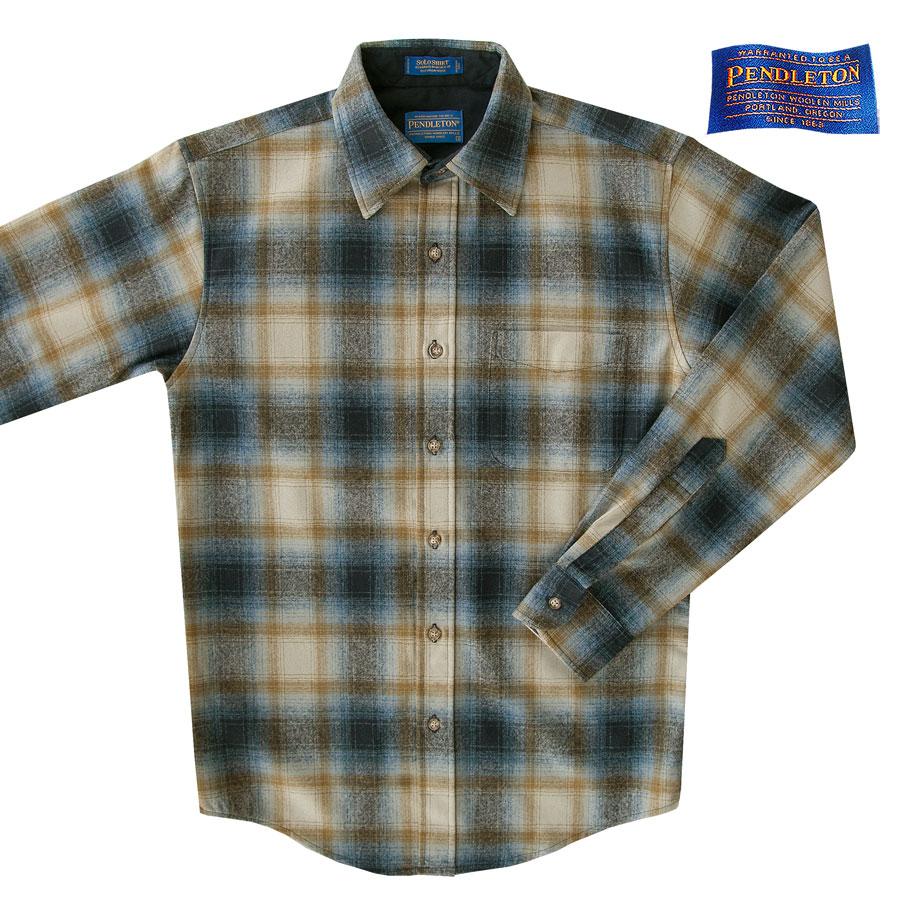 画像1: ペンドルトン ウールシャツ ビンテージフィット ロッジシャツ・ソロシャツ ブルー・カーキS/Pendleton Solo Shirt (1)
