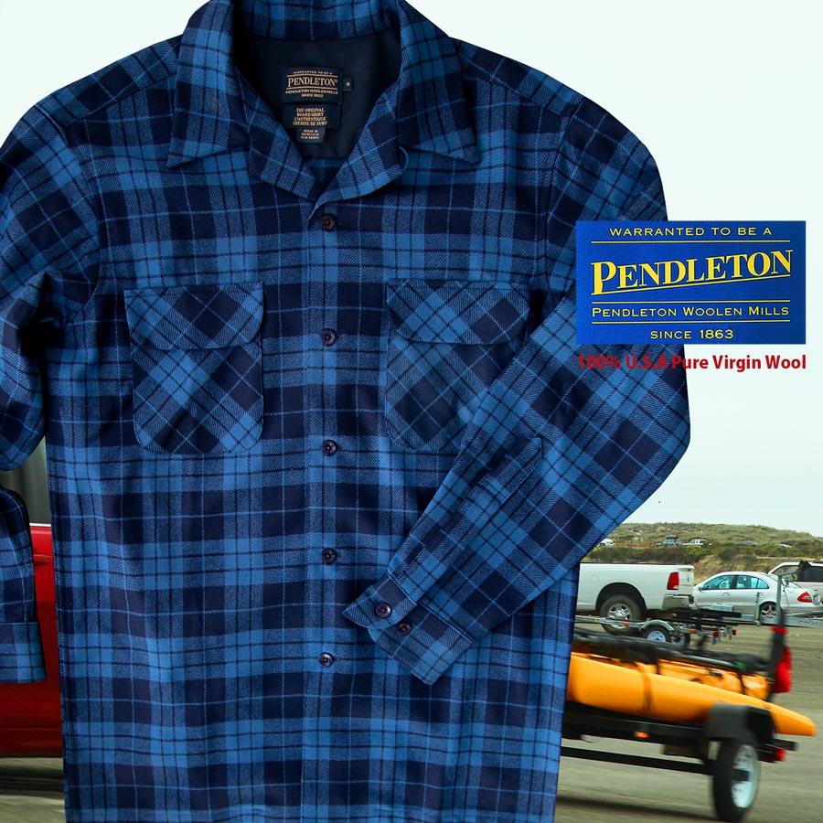 画像1: ペンドルトン ウールシャツ ボードシャツ ブループラッド/Pendleton Board Shirt (1)