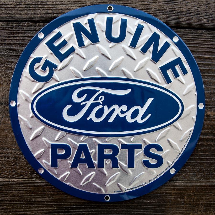 画像1: フォード モーターカンパニー メタルサイン(シルバー・ブルー)/Ford Motor Company Metal Sign GENUINE Ford PARTS (1)