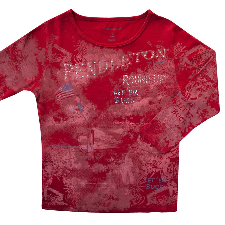 画像1: ペンドルトン ラウンドアップコレクション プレミアムティー(レディース)S/Pendleton Round Up Tee Women's(Red) (1)