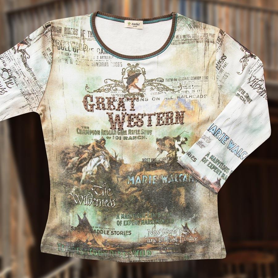 画像1: グレイト ウエスタン  レディース ウエスタン TシャツS/Women's Western T-shirt(Light Blue) (1)