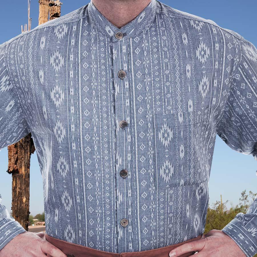画像1: ワーメーカー バンドカラー アズテック オールドウエストシャツ(インディゴ)S/Wah Maker Band Collar Old West Shirt(Indigo) (1)