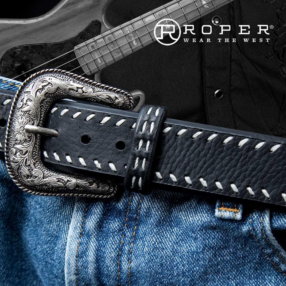 画像1: ローパー ウエスタン レザーベルト(ブラック)/Roper Western Leather Belt(Black) (1)