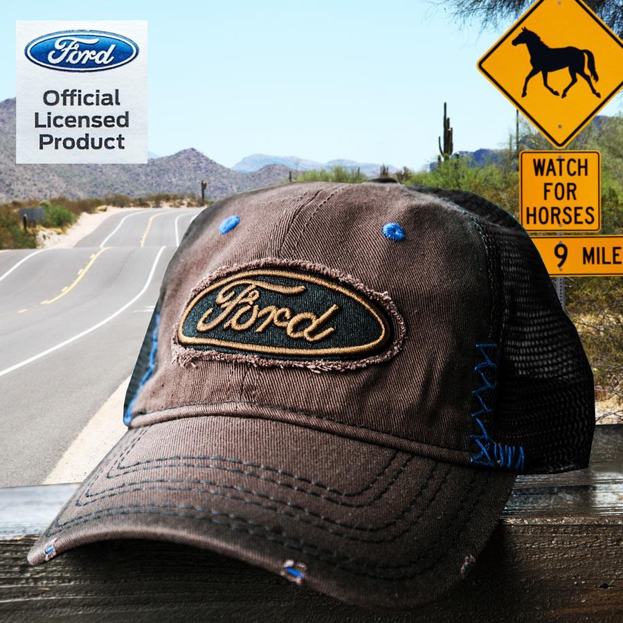 画像1: フォード 刺繍 ロゴ メッシュ キャップ(ブラウン)/Ford  Mesh Cap (1)