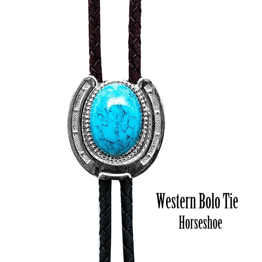 画像1: ウエスタン ボロタイ ホースシュー・ターコイズ/Western Bolo Tie(Horseshoe/Turquoise) (1)