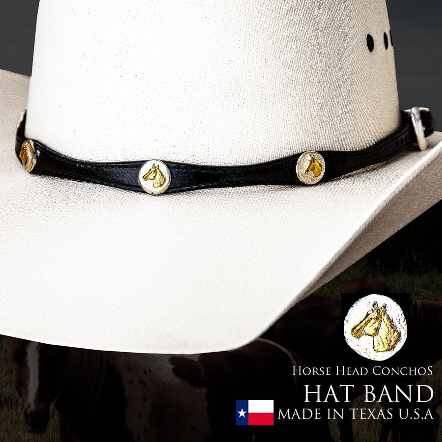 画像1: ウエスタン ハット バンド ホースヘッド(ブラック)/Hat Band Leather w/Horse Head Conchos(Black) (1)