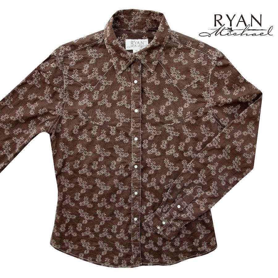 画像1: ライアン マイケル フローラル刺繍 ウエスタン シャツ(ブラウン・長袖)XS/Ryan Michael Long Sleeve Western Shirt(Women's)  (1)