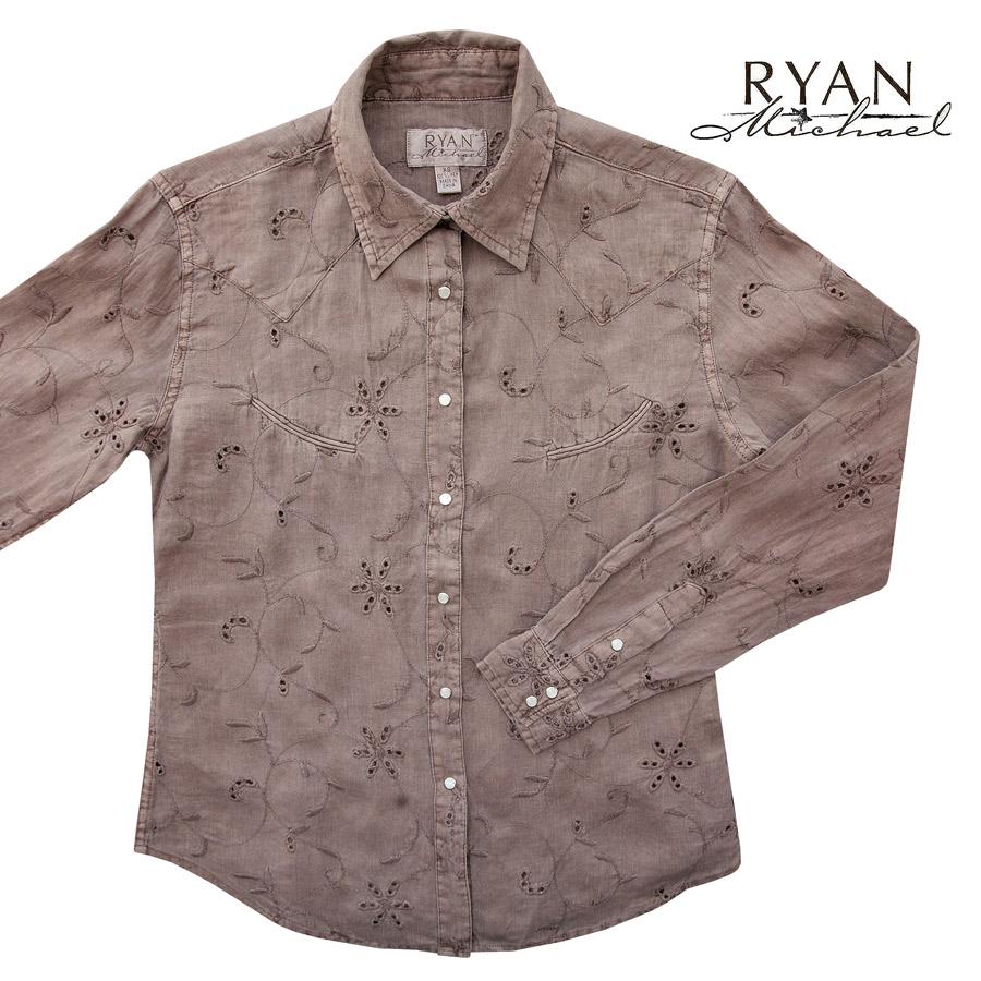 画像1: ライアン マイケル フローラル刺繍・アイレット ウエスタン シャツ(ライトブラウン・長袖)/Ryan Michael Long Sleeve Western Shirt(Women's)  (1)