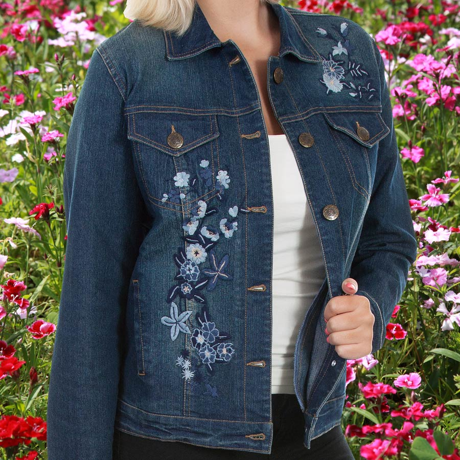 画像1: スカリー フローラル刺繍 デニムジャケット(デニム)/Scully Embroidery Classic Denim Jacket(Women's) (1)